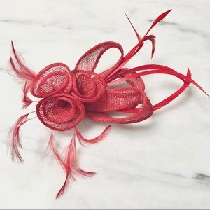 Vintage Red Feather Fascinator or Brooch